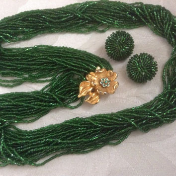 Emerald glass necklace earrings set green seed beads Bohemian flower Goldplated gold clasp green rhinestones Art Deco jewelry rare vintage