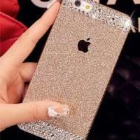 Generic Luxury Diamond Crystal Rhinestone Bling Metal Frame Bumper Case Cover for Iphone 6 (4.7-inch) (Gold)
