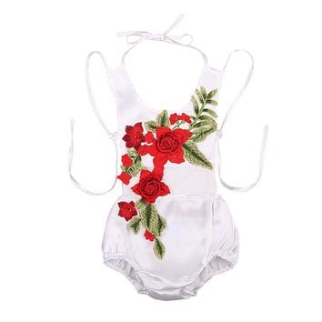 Summer Newborn Baby Girls 3D Rose Flower Backless Romper Lace Halter Jumpsuit Sun-suit Outfits