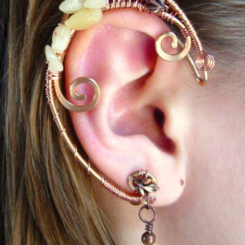 Pair of Elegant Autumn Faerie Elf Ear Cuffs with Genuine Aragonite and Czech Glass Leaves Woven with Copper Wire
