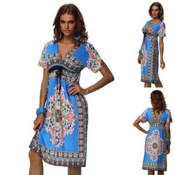 DCCKJG2 Details about New Fashion lady Retro Maxi Hippie Boho Paisley Print Strapless Summer Sun Dress