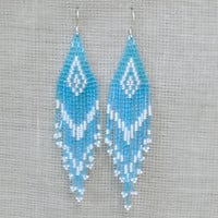 Aqua Blue Earrings. Native American Earrings Inspired. Dangle Long Earrings. Beadwork.