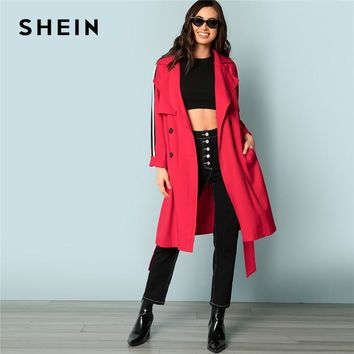 SHEIN Red Elegant Highstreet Flap Front Belted Trench Long Double Breasted Coat 2018 Autumn Minimalist Women Outwear Clothes