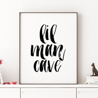 Baby Boy Decor Mustache Art Boys Lil Man Cave Print Boys Wall Art Nursery Prints Playroom Nursery Print Home decor Nursery Wall art