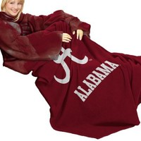 NCAA Alabama Crimson Tide Comfy Throw Blanket with Sleeves, Smoke Design