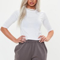 Missguided - White High Neck 3/4 Sleeve Fitted Top