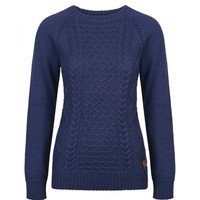 Women's Luxurious Alpaca/Cotton Crew Neck Cable Knit Sweater