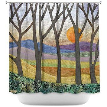 Shower Curtain Artistic Designer from DiaNoche Designs Stylish, Decorative, Unique, Cool, Fun, Funky Bathroom - Sunset Over the Hills