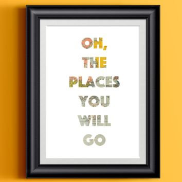 Oh The Places You Will Go | Wall Decor Whimsical Travel Print