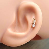 Rose Gold Crescent Moon Cartilage Earring Tragus Helix Piercing