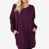 Women Oversized Loose Fit V-Neck Tunic Length Sweatshirts Top