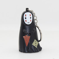 Spirited Away A Voyage of Chihiro Japan's national style no face man figure LED keychain with sound Flashlight keyring