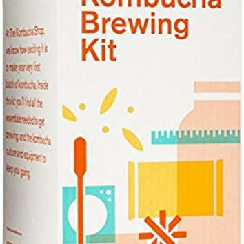 The Kombucha Shop Kombucha Brewing Kit with 1 Gallon Glass Brew Jar, Kombucha SCOBY and Starter Pouch, Temperature Gauge, pH Strips, Loose Leaf Tea and More