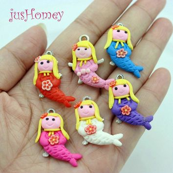 50pcs Kawaii FIMO Clay Mermaid Craft Charms Cabochons DIY Pendant Cartoon Seas Theme Home Decor Ornament 32mm
