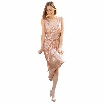 2016 Sexy V Neck Short Vestido De Festa Purple Gold Champagne Sequins Bridesmaid Dresses