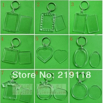 50 pcs/lot Blank Acrylic Keychains Insert Photo plastic Keyrings Square Key Rectangle heart circular