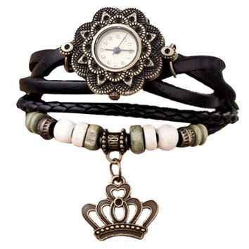 Quartz Weave Around Leather Crown Bracelet Lady Woman Wrist Watch
