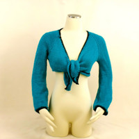Aqua Ballet Sweater, Cardigan Front Tie, Bolero Jacket Shrug, Blue Green Crop Top