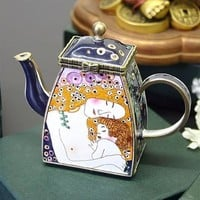 Klimt Mother and Child Miniature Teapot 3.5H