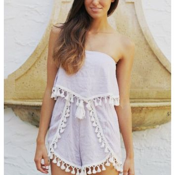 Lavender strapless playsuit with tassel trim | Hannah | escloset.com