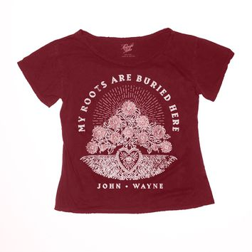 My Roots Are Buried Here Boyfriend Tee - Wine