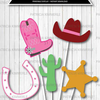 Centerpiece Printable, Cowgirl Decorations, Wild West Theme, Cowgirl Party, Sheriff Favor, Western, Decorations, DIY,  INSTANT DOWNLOAD
