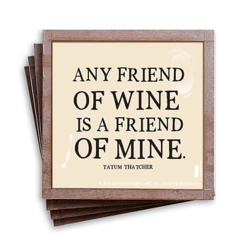 Any Friend Of Wine Is A Friend Of Mine Copper & Glass Coasters, Set of 4