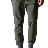 Modern Amusement Rib Cuff Canvas Jogger Pants - Mens Pants - Green