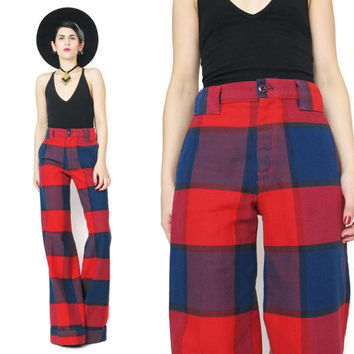 1970s Plaid Pants 70s Wide Leg Pants High Waist Pants Blue Red Checkered Plaid Trousers Pockets Womens Trousers Preppy Slacks by Farah (M/L)