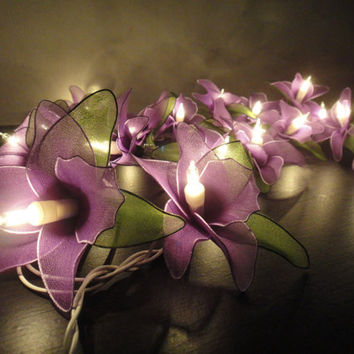 20 Purple Orchid Flower Fairy String Lights Wedding by marwincraft
