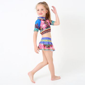 Retro Bohemia Style Kid Children Swimsuits New Cute Girls Two Piece Beach Swim Wear Print Bathing Suits