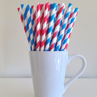 Paper Straws - 25 Red and Blue and White Striped Party Straws Dr. Seuss Cat in the Hat Birthday Baby Shower Buffalo Bills Tennessee Titans