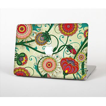 """The Vintage Green Floral Vector Pattern Skin Set for the Apple MacBook Pro 13"""" with Retina Display"""