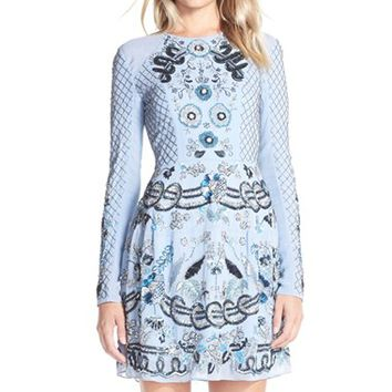 Women's Needle & Thread Embellished Georgette Fit & Flare Dress,