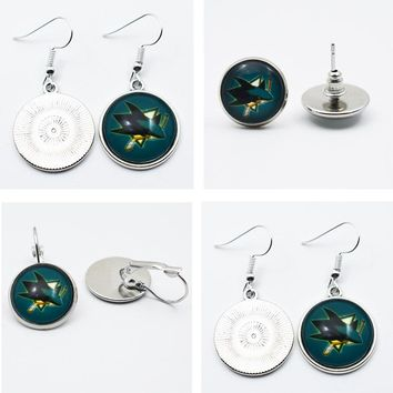 10Pair NHL San Jose Sharks Time Gem Sports Charm Glass Stud Earrings/Pendant Earrings For Sports Fans