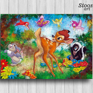 Bambi poster disney wall art nursery decor animal painting