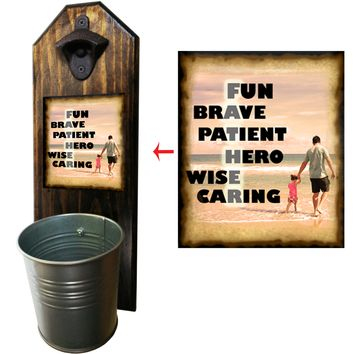 Father Bottle Opener and Cap Catcher, Wall Mounted