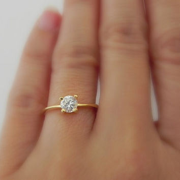 Thin Gold Band Engagement Ring 8mm Round Cut Morganite And Diamond