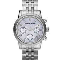 Michael Kors Mid-Size Silver Color Stainless Steel Ritz Chronograph Glitz Watch - Michael Kors
