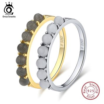 ORSA JEWELS Real Women 925 Sterling Silver Rings 7 Pieces Cat's Eye Stone Silver & Gold-color Wedding Band Fashion Jewelry SR68