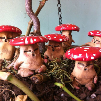 Miniature Mushroom Man Figurine, Planter or Terrarium Ornament, Fairy Garden Accessory