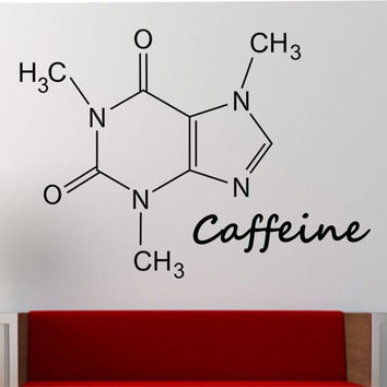 Caffeine Molecule Wall Decal Vinyl Sticker Art Decor Bedroom Design Mural education science educational geek nerd teach creative art