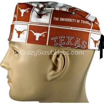Men's Fold-Up Cuffed or Un-Cuffed Surgical Scrub Hat Cap in Texas Longhorns Squares