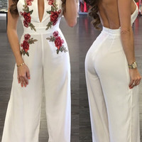 White Embroidered Halter Loose Jumpsuit
