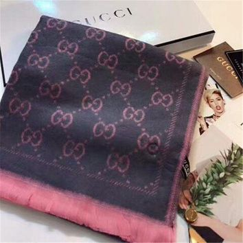 MDIGUX5 Luxury Gucci Keep Warm Scarf Jacquard Scarves Winter Wool Beautiful Shawl Grey Pink