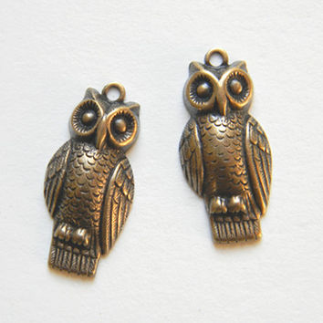 Brass Ox Owl Charm Drop Stamping 12m x 24mm - 2 pcs.