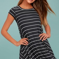 Billabong Rockin Down Charcoal Grey Striped Swing Dress