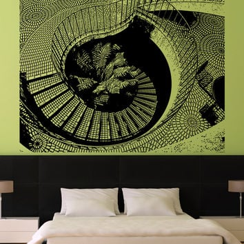 Vinyl Wall Decal Sticker Tiled Spiral Stairs #5244