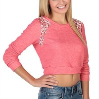 Long Sleeve Cropped French Terry with Lace Insets