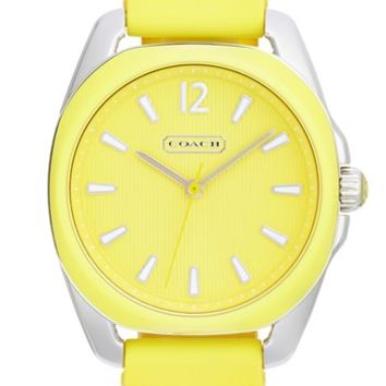 COACH 'Teagan' Plastic Bezel Silicone Strap Watch, 38mm